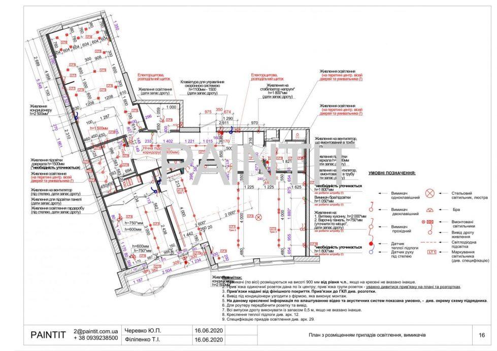 план размещения осветительных приборов